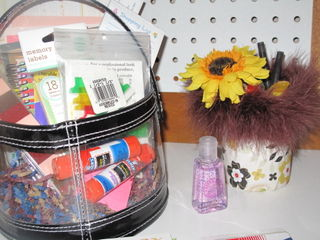 Cute basket full of office supplies