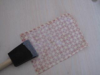Mod Podge fabric with sponge brush